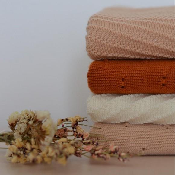 Couverture en laine Bibi cognac Hvid