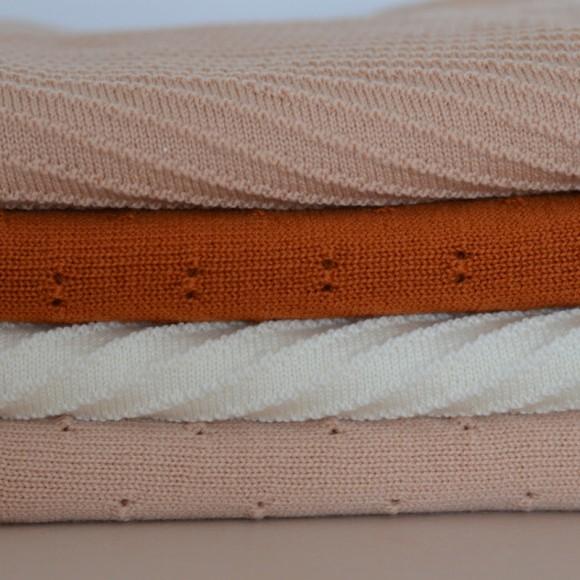 Couverture en laine Bibi abricot Hvid