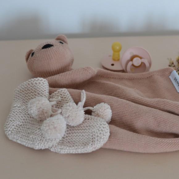 Doudou en laine Teddy tokki blush Hvid