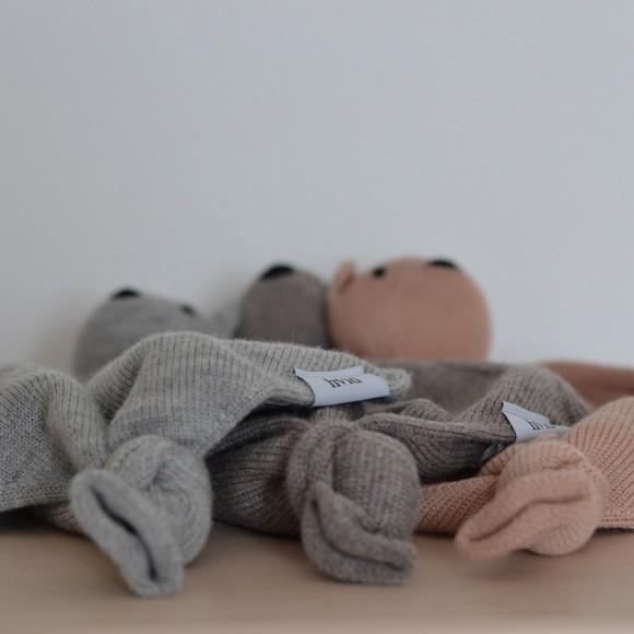 Doudou en laine Teddy tokki taupe Hvid