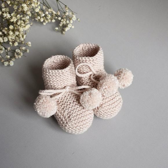 Chaussons Agathe rose poudre Jacotte Tricote