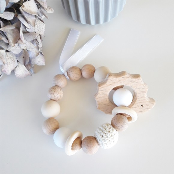Teething rattle hedgehog beige La Petite Particule