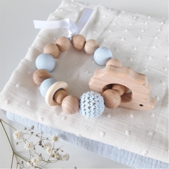 Teething rattle hedgehog blue La Petite Particule