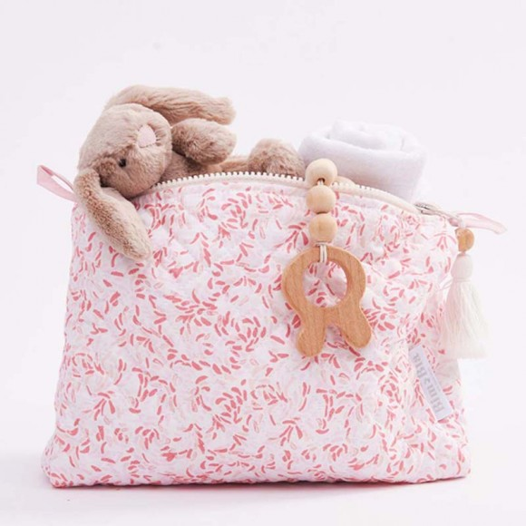 Baby care pouch pink leaves Big Bla