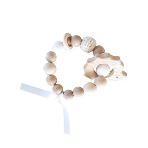 Bracelet d'éveil en bois hérisson beige La Petite Particule