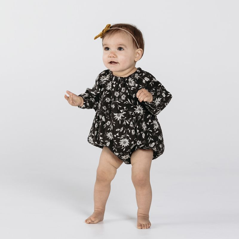 4e84e4acc55 Floral long sleeve bubble romper midnight Rylee and Cru - Yellow Fl...