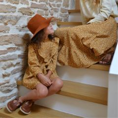 Marigold ruffle dress girl Rylee and Cru