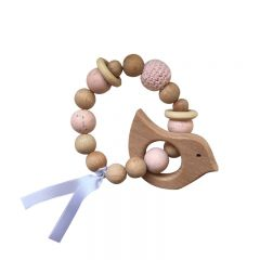 Teething rattle bird Pink La petite particule