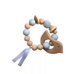 Bracelet d'éveil en bois oiseau bleu layette La petite particule