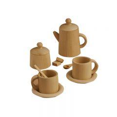 Service à thé naturel en bois