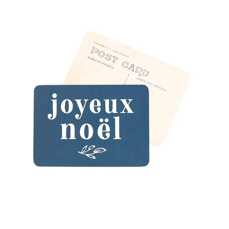 """Carte postale """"Joyeux Noël"""" bleu nuit"""