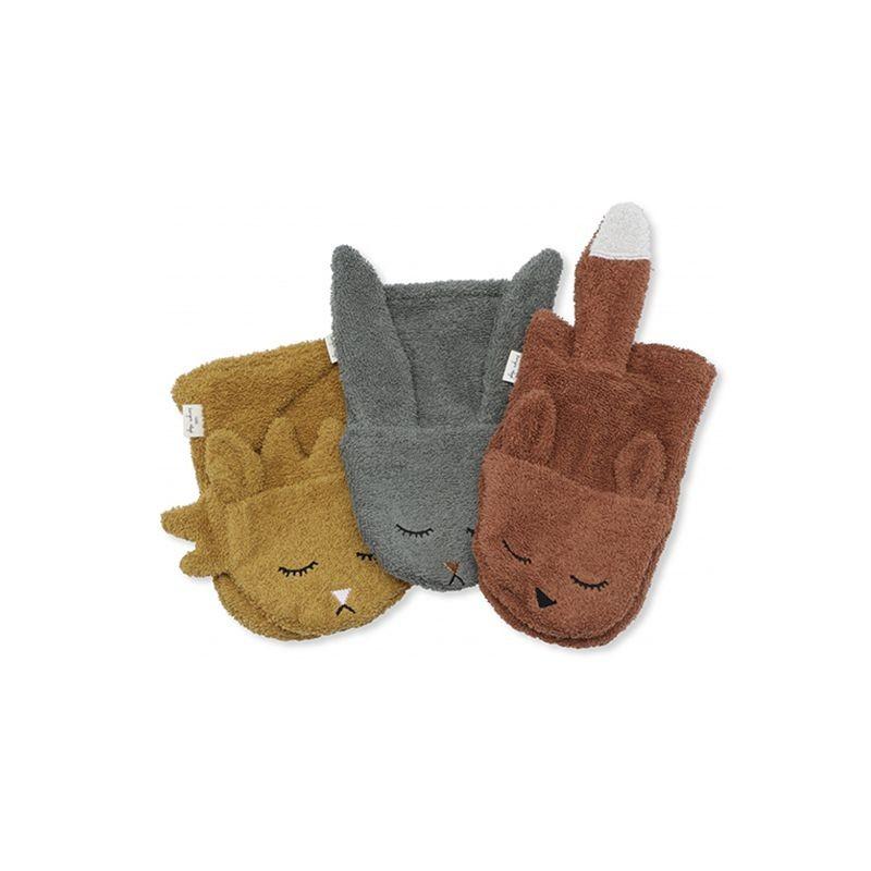 Pack gris de 3 gants de toilette animaux Konges Slojd