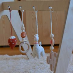 Suspension crochet et bois cactus Lana crocheting