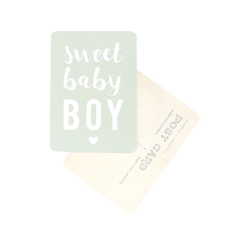 "Carte postale ""sweet baby boy"" smoke green Cinq Mai"