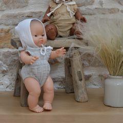 Barboteuse gris chiné pour poupée Minikane