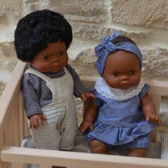 Ensemble salopette pour poupée Minikane