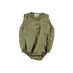 Romper ian baby linen khaki My Little Cozmo