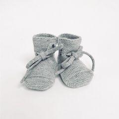 Wool Booties grey melange  Hvid