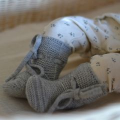 Chaussons en laine gris chiné Hvid