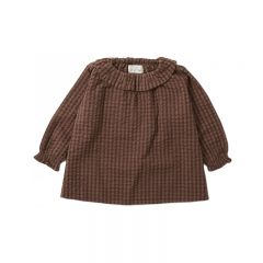 Blouse à col charlise brown check Konges Slojd