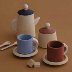 Wood Tea set terra and blue Raduga Grez