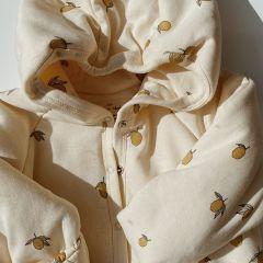 New born onesie with hood lemon Konges Slojd