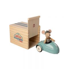 Mouse car w. garage blue Maileg