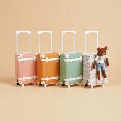 Petite valise à roulettes abricot