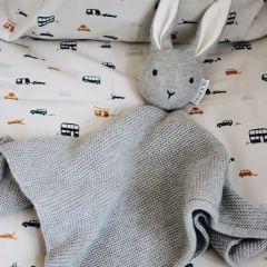 Doudou milo tricoté lapin grey melange