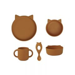 Vivi silicone tableware 4 pack cat mustard Liewood