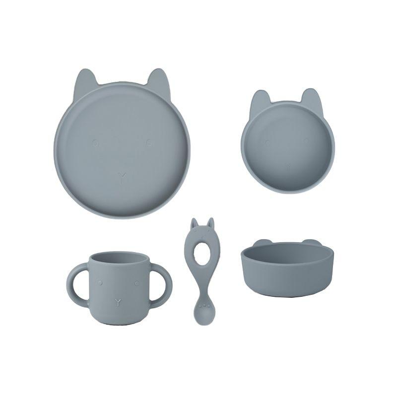 Vivi silicone tableware 4 pack rabbit sea blue Liewood