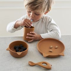 Cyrus silicone tableware junior cat mustard Liewood